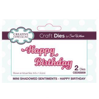 Sue Wilson Die - Mini Shadowed Sentiments Happy Birthday