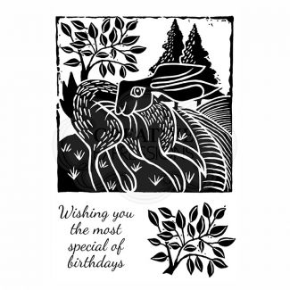 Woodware Clear Stamp - Lino Cut - Hare in the Fields