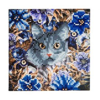 Crystal Card Kit - Cat & Flowers