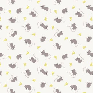Lewis & Irene - Fat Quarter - Mice on cream
