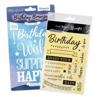 Birthday Wishes FTLS Stamp and Moonstone Die Bundle