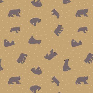 Lewis & Irene - Fat Quarter - Starry Bear ochre