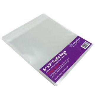 """Clear Display Bags - For 5"""" x 5"""" Card & Envelope - x 50 Bags"""