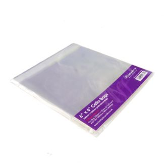 """Clear Display Bags - For 6"""" x 6"""" Card & Envelope - x 50 Bags"""