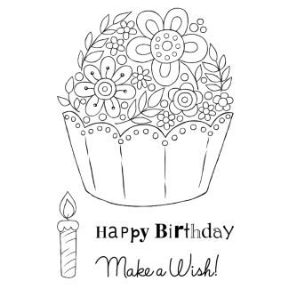 Woodware Clear Stamp - Floral Cup Cake