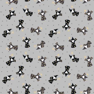 Lewis & Irene - Fat Quarter - Wizards on grey (with gold metallic)