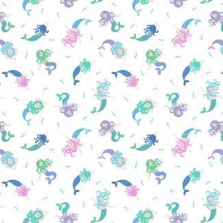Lewis & Irene - Fat Quarter - Mermaids on cream (with blue metallic)