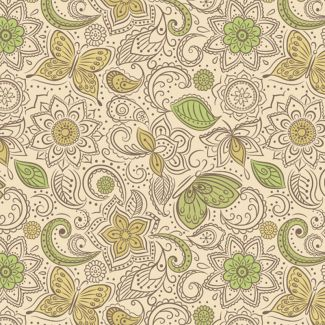 Lewis & Irene - Fat Quarters - Floral flow on mellow yellow