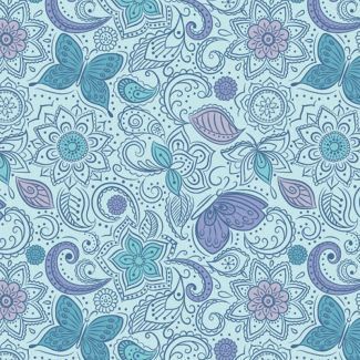 Lewis & Irene - Fat Quarters - Floral flow on blissful blue
