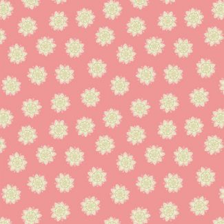 Lewis & Irene - Fat Quarters - Flower Mandala on peach