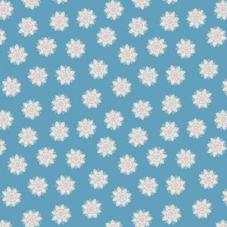 Lewis & Irene - Fat Quarters - Flower Mandala on blue