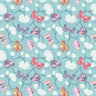 Lewis & Irene - Fat Quarters - Lotus Flowers on pale blue