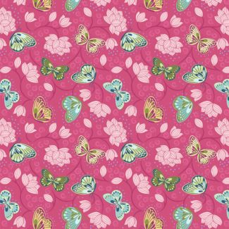 Lewis & Irene - Fat Quarters - Lotus Flowers on hot pink