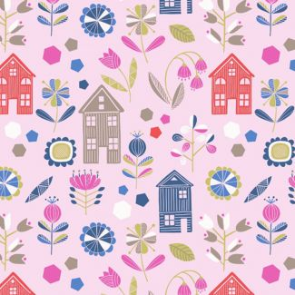 Lewis & Irene - Fat Quarters - Hann's House on pink