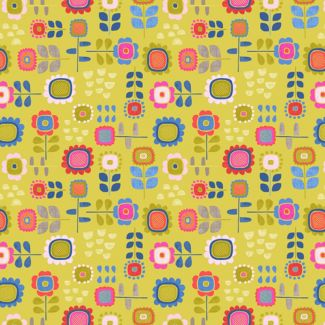 Lewis & Irene - Fat Quarters - Summer Flowers on yellow