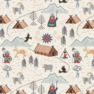 Lewis & Irene - Fat Quarter - Viking village on cream