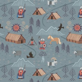 Lewis & Irene - Fat Quarter - Viking village on blue grey