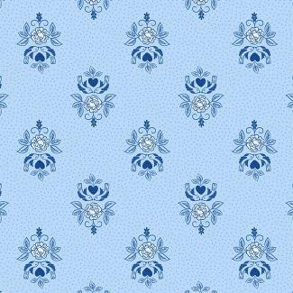Lewis & Irene - Teatime  - Little Bird Roses on China Blue Fat Quarter