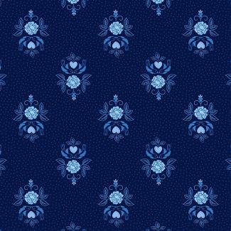 Lewis & Irene - Teatime  - Little Bird Roses on Darkest Blue Fat Quarter