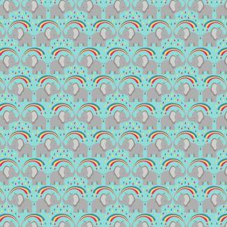 Lewis & Irene - Rainbows - Rainbow elephants on blue - Fat Quarter
