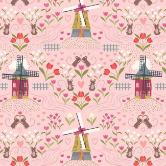 Lewis & Irene - Fat Quarter - Windmills on light rose