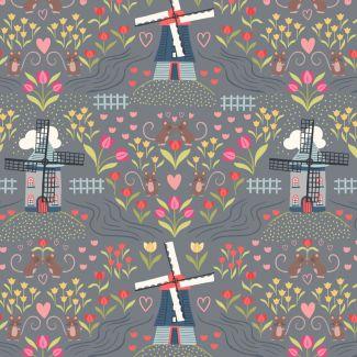 Lewis & Irene - Fat Quarter - Windmills on light slate