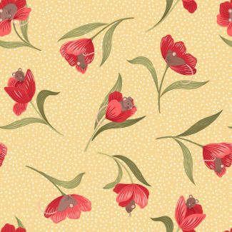 Lewis & Irene - Fat Quarter - Mouse & Tulip on yellow