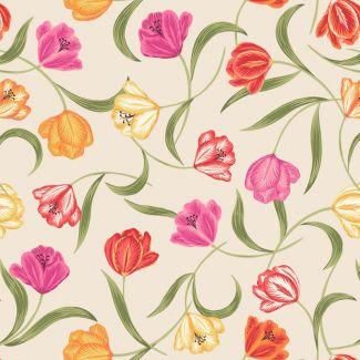 Lewis & Irene - Fat Quarter - Tulips on cream