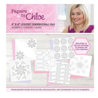 """Papers by Chloe Christmas Sparkle 6"""" x 6"""" Luxury Dimensional Pad"""