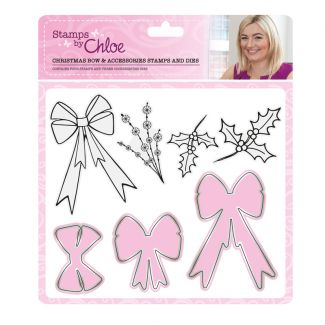 Stamps by Chloe - Christmas Bow and Accessories Stamp and Die Collection