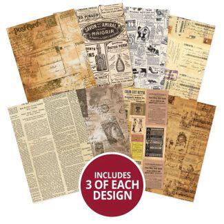 Adorable Scorable Pattern Packs - Vintage Newsprint
