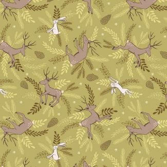 Lewis & Irene - New Forest Winter - Deer & Hare on Forest Green - Fat Quarter