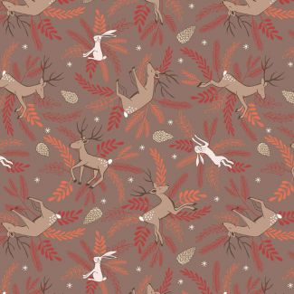 Lewis & Irene - New Forest Winter - Deer & Hare on Earth - Fat Quarter