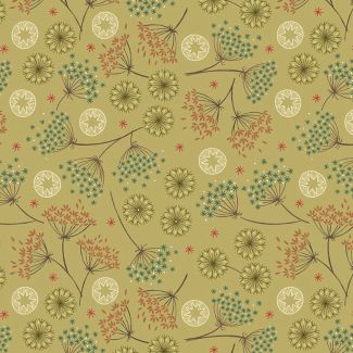 Lewis & Irene - New Forest Winter - Winter Floral on Green - Fat Quarter