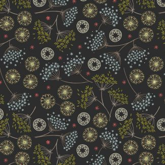 Lewis & Irene - New Forest Winter - Winter Floral on Black - Fat Quarter