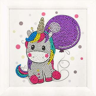 Frameable Crystal Art - Unicorn Balloon 16x16cm
