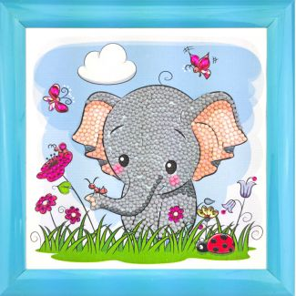 Frameable Crystal Art - Elephant 16x16cm