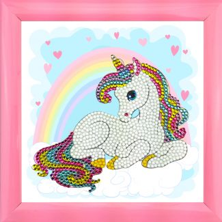 Frameable Crystal Art - Unicorn Rainbow 16x16cm