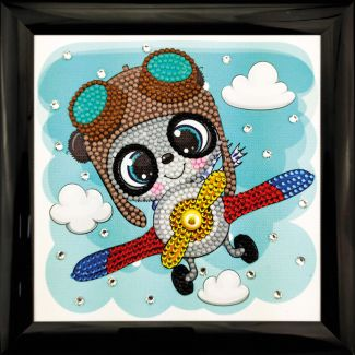 Frameable Crystal Art - Flying Panda 16x16cm