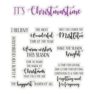 """CC - Sentiment & Verses Clear Stamps - It's Christmastime x 11 stamps (Largest stamp size 3.3"""" x 1"""")"""