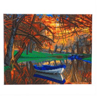Framed Crystal Art Kit 40cm x 50cm - Autumn Forest Boat