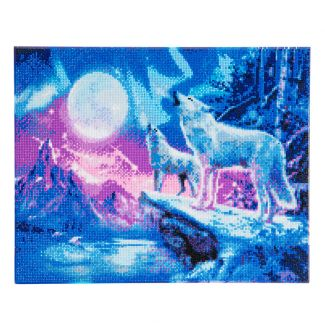 Framed Crystal Art Kit 40cm x 50cm - Wolves & Northern Lights