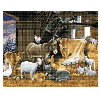 Framed Crystal Art Kit 40cm x 50cm - Nativity Farm