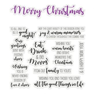"""CC - Sentiment & Verses Clear Stamps - Merry Christmas x 10 stamps (Largest stamp size 5.9"""" x 1.1"""")"""