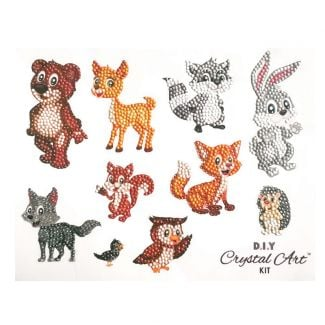Crystal Art Sticker Set (21cm x 27cm) - Friendly Forest Animals