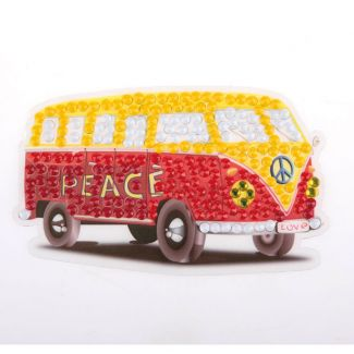 Crystal Art Motif Kit - Peace Camper Van 9cm x 9cm