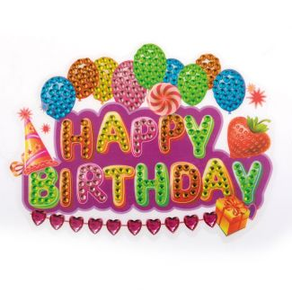 Crystal Art Motif Kit - Happy Birthday 10cm x 15cm
