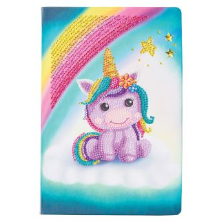Crystal Art Notebook Kit- Unicorn Smile (size approx A5)