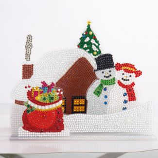 Snowy Village 3D Crystal Art Scene