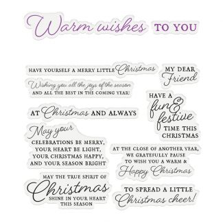 """CC - Sentiment & Verses Clear Stamps - Warm Wishes x 11 stamps (Largest stamp size 4.3"""" x 0.9"""")"""